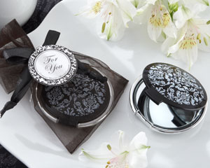 """Reflections"" Elegant Black-and-White Mirror Compact wedding favors"