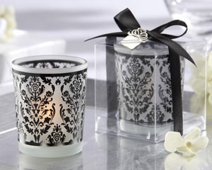 """Damask Traditions"" Frosted Glass Tea Light Holder with our Signature Charm wedding favors"