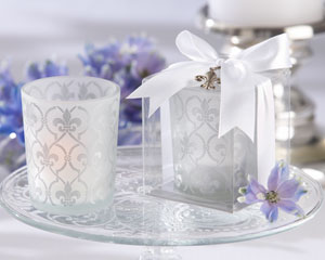 """Fleur-de-lis"" Frosted-Glass Tea Light Holder wedding favors"
