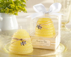 """Meant to Bee"" Honey-Scented Beehive Candle wedding favors"