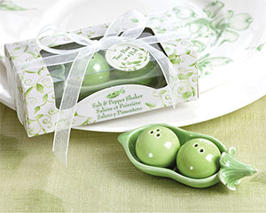 Two Peas in a Pod - Ceramic Salt & Pepper Shakers in Ivy Print Gift Box wedding favors