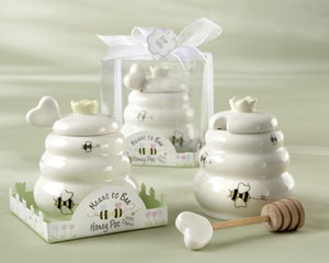 """Meant to Bee"" Ceramic Honey Pot with Wooden Dipper wedding favors"