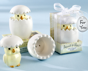 """About to Hatch"" Ceramic Baby Chick Salt & Pepper Shakers wedding favors"