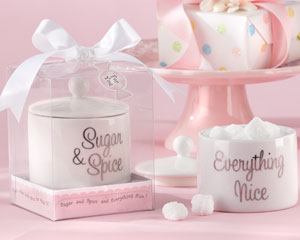 """Sugar & Spice Everything Nice"" Ceramic Sugar Bowl wedding favors"