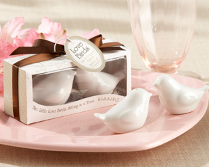 """Lovebirds in the Window"" Ceramic Salt & Pepper Shakers wedding favors"