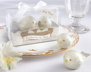 """Feathering the Nest"" Ceramic Birds Salt & Pepper Shakers wedding favors"