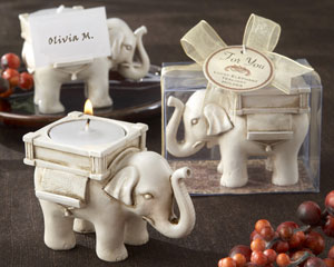 """Lucky Elephant"" Antique Ivory-Finish Tea Light Holder wedding favors"