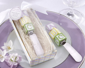"""New Baby on the Block"" Alphabet Block Stainless-Steel Spreader wedding favors"