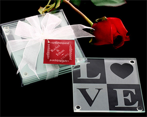 LOVE Glass Coaster Gift Set with Ribbon and Thank You Tag wedding favors