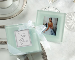 Forever Photo Frosted Glass Coasters wedding favors