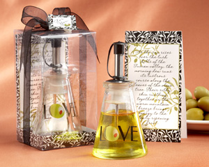 """Olive You!"" Glass LOVE Oil Bottle in Signature Tuscan Box wedding favors"