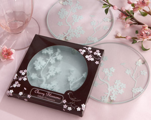 """Cherry Blossoms"" Frosted Glass Coasters wedding favors"