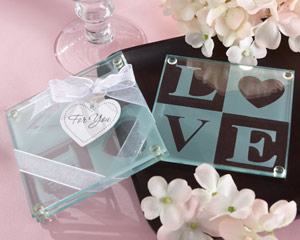 """Clearly in Love"" LOVE Glass Coasters (Set of 2) wedding favors"