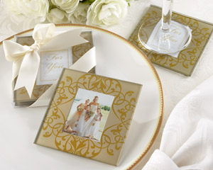 """Golden Brocade"" Elegant Glass Photo Coasters wedding favors"