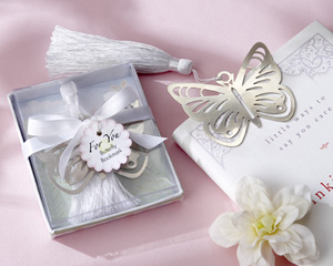"""Butterfly"" Silver-Metal Bookmark with White Silk Tassel wedding favors"