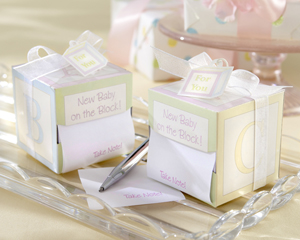 """Take Note! New Baby On the Block!"" Sticky Notes wedding favors"