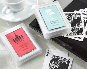 """Perfectly Suited"" Playing Cards in Personalized Travel Case  wedding favors"