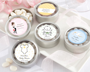 """Simply Sweet"" Round, Personalized Candy Tin - Baby Shower wedding favors"
