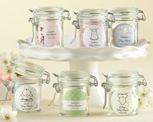 Personalized Glass Favor Jars - Baby Shower wedding favors