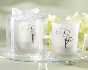"""Calla Lily"" Frosted-Glass Tealight Holder (Set of 4) wedding favors"