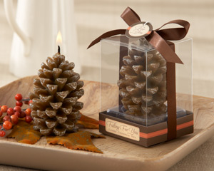 """Falling for You"" Scented Pine Cone Candle (Set of 4) wedding favors"