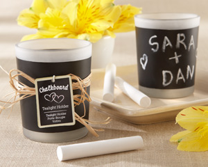 """Chalkboard"" Frosted-Glass Tealight Holder (Set of 4) wedding favors"