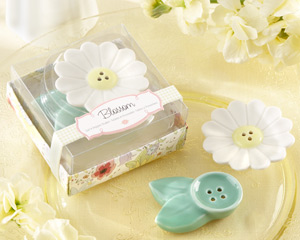 """Blossom"" Ceramic Salt & Pepper Shakers wedding favors"