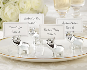 """Lucky in Love"" Silver-Finish Lucky Elephant Place Card/Photo Holder (Set of 4) wedding favors"