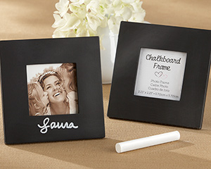 """Chalkboard"" Square Black Frame wedding favors"