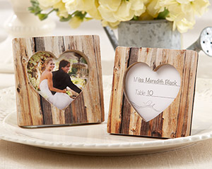 """Rustic Romance"" Faux-Wood Heart Place Card Holder/Photo Frame wedding favors"