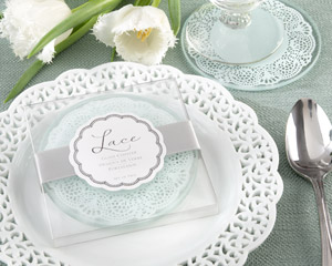 """Lace"" Exquisite Frosted-Glass Coasters wedding favors"