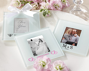 Personalized Frosted-Glass Photo Coaster (Set of 12) wedding favors