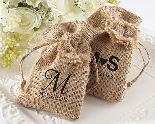 """Rustic Renaissance"" Burlap Favor Bag with Drawstring Tie - Available Personalized wedding favors"