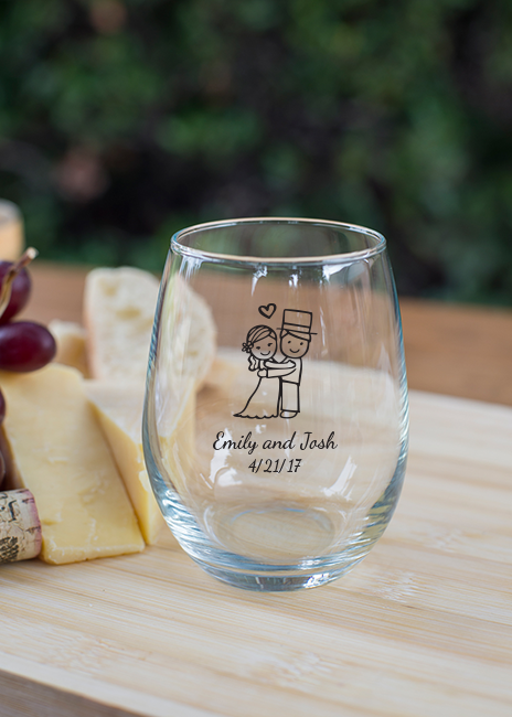 Personalized Stemless Wine Glass 9 oz wedding favors