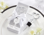 Simply Elegant Chrome Heart Bottle Stopper wedding favors