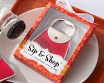 """Sip & Shop"" Purse Bottle Opener wedding favors"