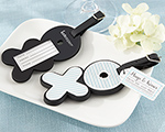 """Hugs & Kisses From Mr. & Mrs."" Love-Filled Luggage Tag wedding favors"