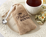 "The ""Perfect Blend"" Burlap Bag with Coffee - Set of 12 wedding favors"