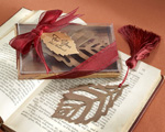"""Turning Leaves"" Bookmark with Burgundy Silk Tassel wedding favors"