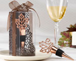 """Lustrous Leaf"" Copper-Finish Bottle Stopper in Laser-Cut Leaf Gift Box wedding favors"