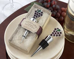 """Vineyard Select"" Enamel and Chrome Bottle Stopper wedding favors"