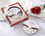 """A Slice of Love"" Stainless-Steel Pizza Cutter in Miniature Pizza Box wedding favors"