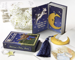 """Over the Moon"" Vintage Moon Bookmark with Tassel in Nursery Rhyme Keepsake Book Box wedding favors"