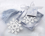 """Snowflake"" Bookmark with Silver Finish and Elegant Ice-Blue Tassel wedding favors"