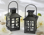 Luminous Black Mini-Lantern Tea Light Holder wedding favors