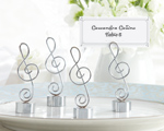 """Love Songs"" Silver-Finish Music Note Place Card/Photo Holder wedding favors"