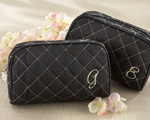 """Cosmetic Couture"" Quilted  Monogrammed Make-Up Bag wedding favors"