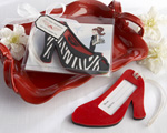 """First Class Fashionista"" High Heel Luggage Tag wedding favors"