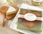 """Tastefully Yours"" Heart-Shaped Bamboo Cheese Board wedding favors"