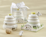 """Sweet As Can Bee"" Ceramic Honey Pot with Wooden Dipper wedding favors"